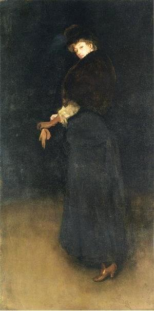 James Abbott McNeill Whistler - Arrangement in Black- The Lady in the Yellow Buskin- Portrait of Lady Archibald Campbell  1882-84