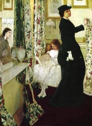 James Abbott McNeill Whistler - Harmony in Green and Rose- The Music Room 1860-61
