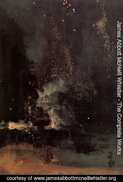 James Abbott McNeill Whistler - Nocturne in Black and Gold- The Falling Rocket  1875