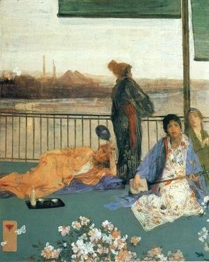 James Abbott McNeill Whistler - Variations in Flesh Colour and Green: The Balcony