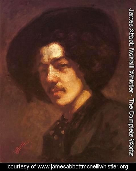 James Abbott McNeill Whistler - Portrait of Whistler with Hat