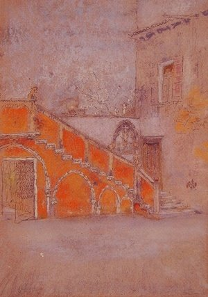 James Abbott McNeill Whistler - The Staircase: Note in Red