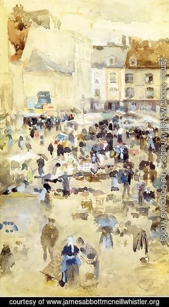 James Abbott McNeill Whistler - Variations in Violet and Grey - Market Place, Dieppe