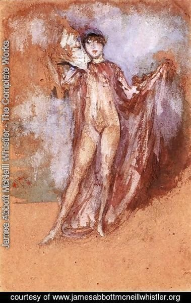 James Abbott McNeill Whistler - Grey and Pink, a Draped Model with Fan