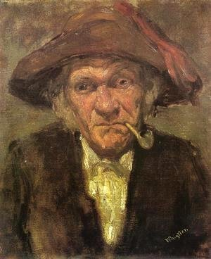 Head of an Old Man Smoking