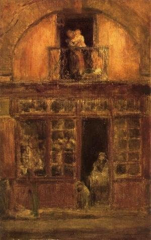 James Abbott McNeill Whistler - A Shop with a Balcony