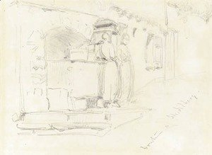 James Abbott McNeill Whistler - Fountain at Heidelberg
