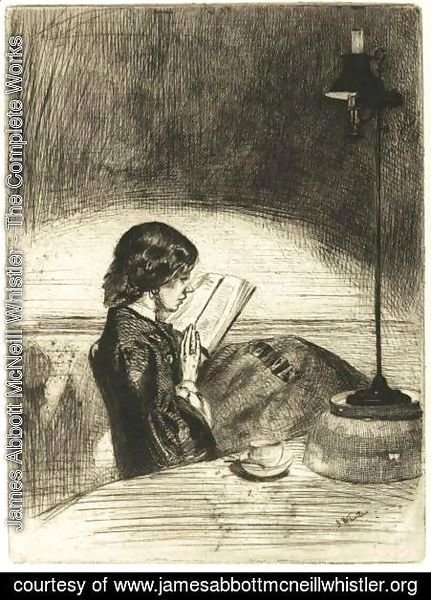 James Abbott McNeill Whistler - Reading By Lamplight