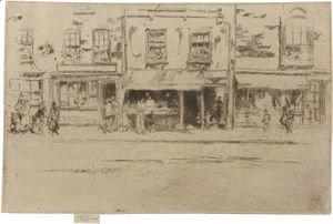 James Abbott McNeill Whistler - The Fish-Shop, Busy Chelsea